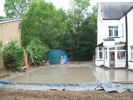 Large 2 story extension concrete base