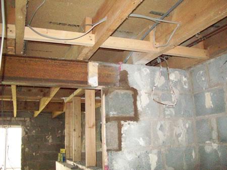 New walls and steel beams