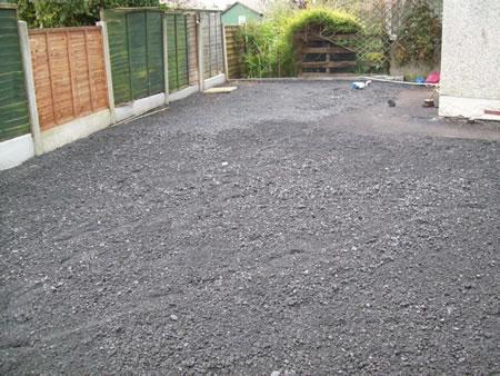 Gravel levelled ready for flagging