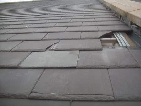 Broken slates to be repaired