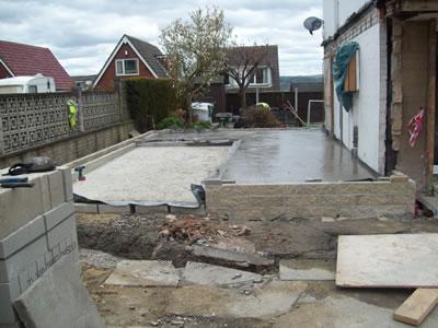 Double Storey House Extension concrete slab