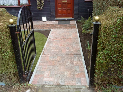 New block paving pathway in front garden