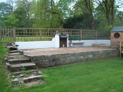 Garden Patio before flagging, with old steps