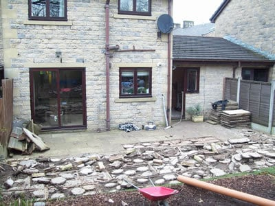 Garden landscaping, starting with removing old paving
