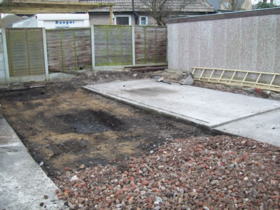 Soft ground dug out for new concrete base