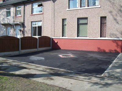 New driveway and parking area