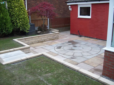 Levelled and Raised Indian paved Patio Area