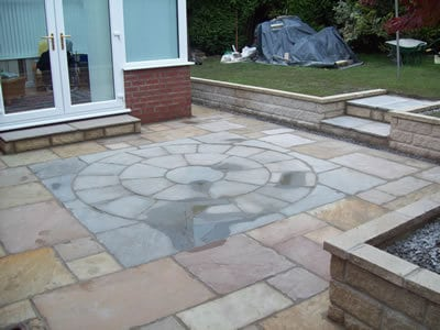 Stone garden walls and Indian Paved area