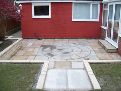 Stone garden walls and Indian Paving