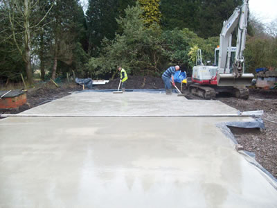 Concrete slab being laid