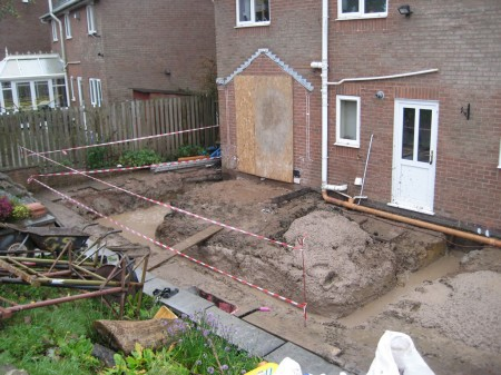 Concrete poured for the foundations