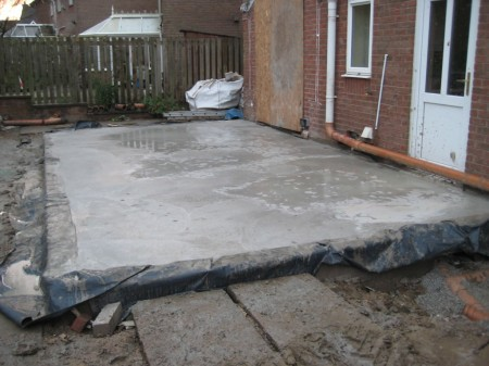 Suspended concrete base installed