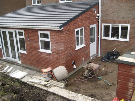 House extension with walls and roof complete