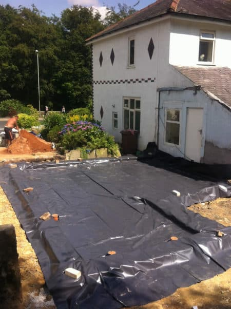 Foundations for semi-detached house extension almost complete