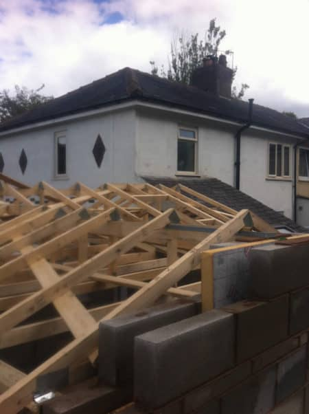 House single storey extension walls and roof