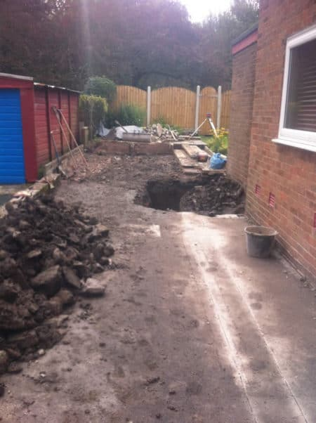 Garage demolished, digging started
