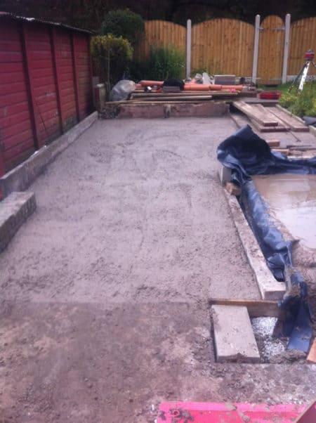 Garage base and shower wet room slab poured