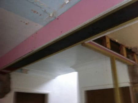 Steel support for open plan kitchen
