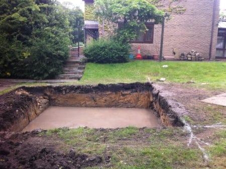 Concrete base poured