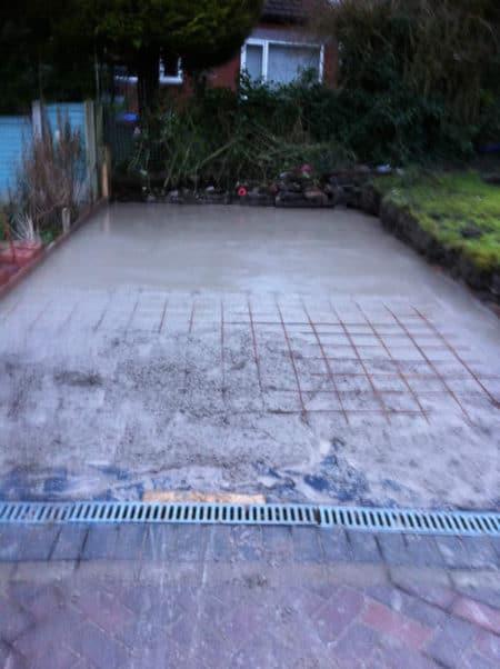 Concrete base part poured