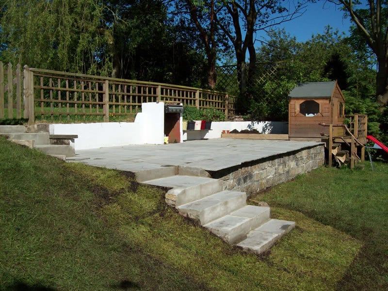 Renovated garden patio and steps