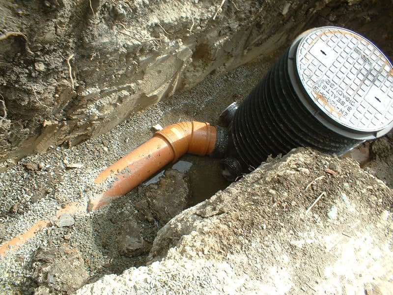 Sewer pipe with inspection chamber - drainage systems